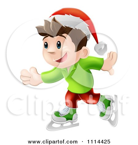 Clipart Happy Christmas Elf Boy Ice Skating And Wearing A Santa Hat - Royalty Free Vector Illustration by AtStockIllustration