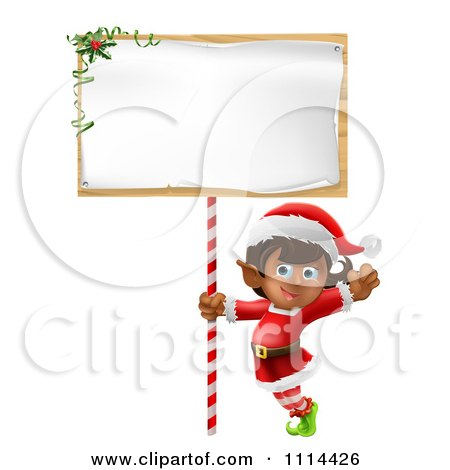Clipart Happy Girl Christmas Elf Waving Under A Christmas Sign - Royalty Free Vector Illustration by AtStockIllustration