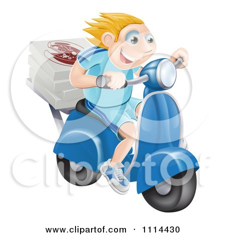 Happy Blond Pizza Delivery Man Speeding On A Moped Posters, Art Prints