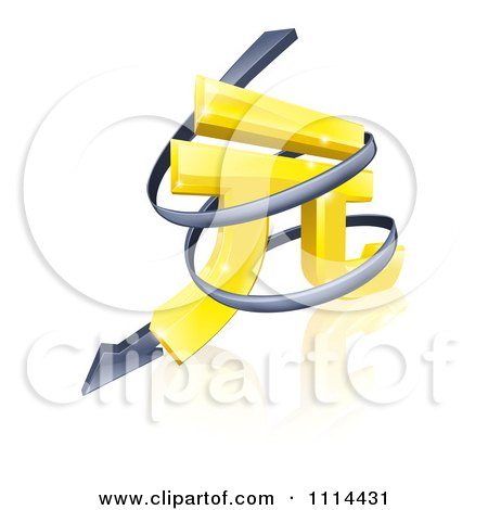 Clipart 3d Spiraling Arrow Around A Golden Yuan Currency Symbol - Royalty Free Vector Illustration by AtStockIllustration