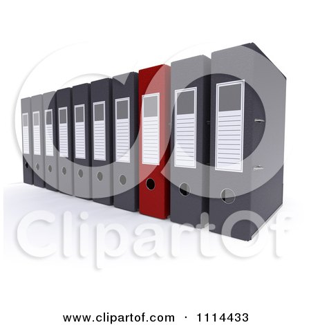 Clipart 3d Red And Gray Lever Arch Office Binders - Royalty Free CGI Illustration by KJ Pargeter