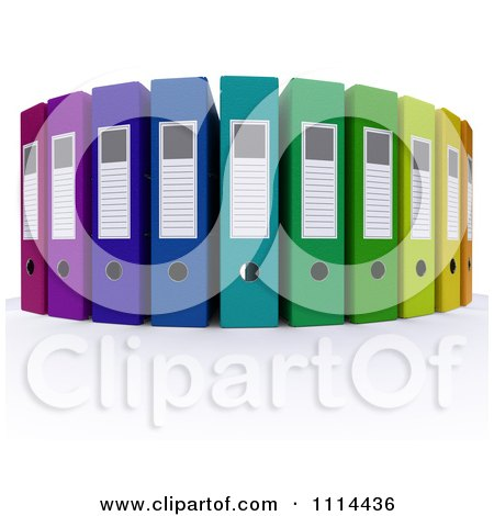 Clipart 3d Colorful Office Ring Binders - Royalty Free CGI Illustration by KJ Pargeter