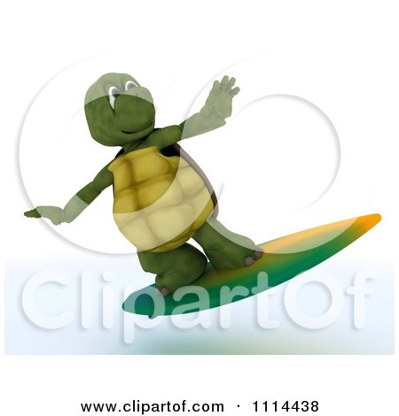 Clipart 3d Tortoise Surfing - Royalty Free CGI Illustration by KJ Pargeter