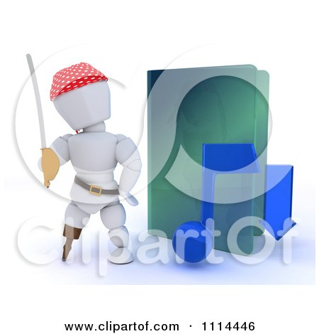 Clipart 3d Illegal Music Download Pirate White Character By A Green Folder - Royalty Free CGI Illustration by KJ Pargeter