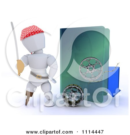 Clipart 3d Illegal Movie Download Pirate White Character With A Folder And Film Reels - Royalty Free CGI Illustration by KJ Pargeter