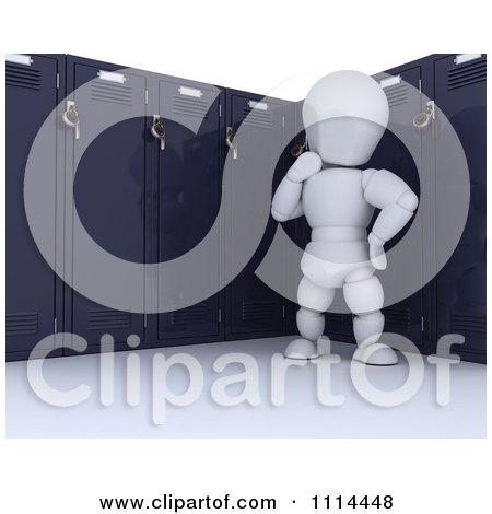 3d White Character Thinking By His School Locker Posters, Art Prints