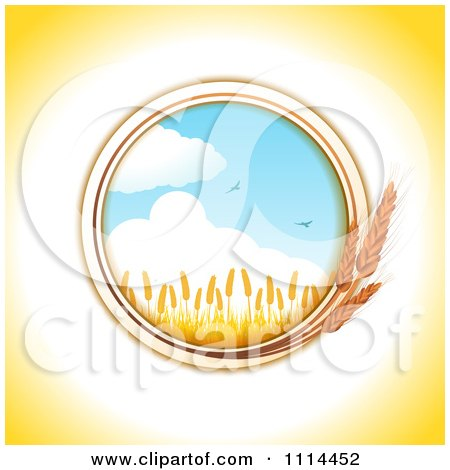 Round Wheat Frame With A Crop And Birds Against The Sky Posters, Art Prints