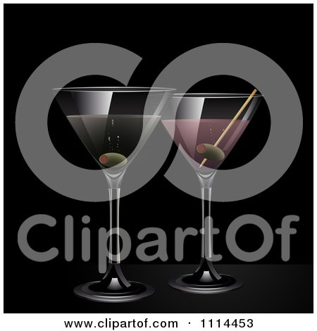 Clipart 3d Martini And Pink Gin Cocktail Drinks Over Black - Royalty Free Vector Illustration by elaineitalia