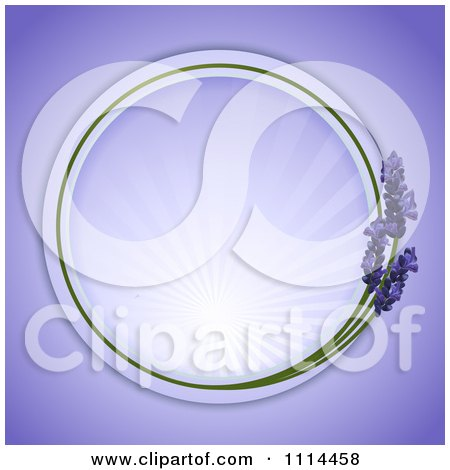 Clipart Round Lavender Frame With Rays On Purple - Royalty Free Vector Illustration by elaineitalia