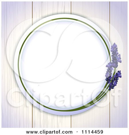 Clipart Round Lavender Frame On White Wood Boards - Royalty Free Vector Illustration by elaineitalia