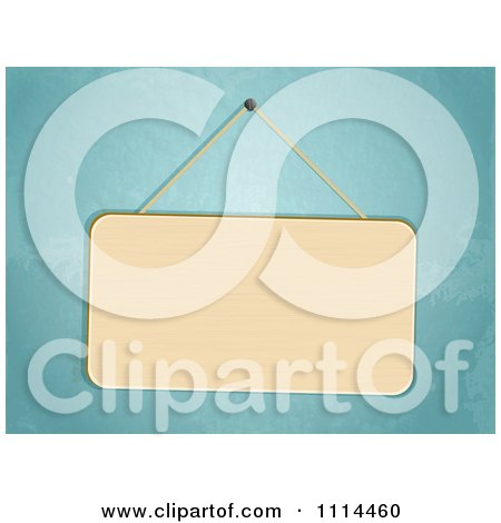 Clipart 3d Blank Sign Hanging Against A Blue Wall - Royalty Free Vector Illustration by elaineitalia