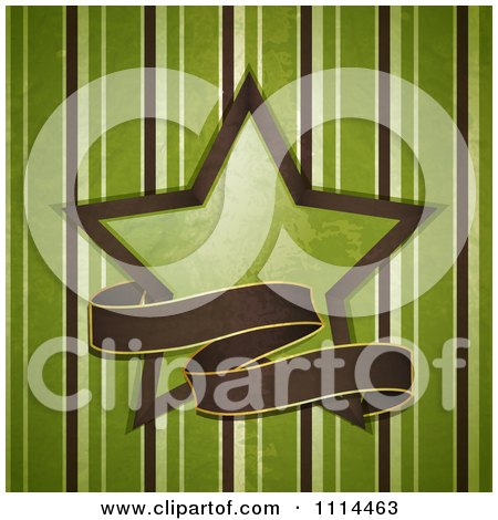 Clipart Grungy Brown Ribbon Banner With A Green Star Over Stripes - Royalty Free Vector Illustration by elaineitalia