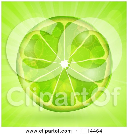 Clipart Fresh Green Lime Slice Over Flares And Rays - Royalty Free Vector Illustration by elaineitalia