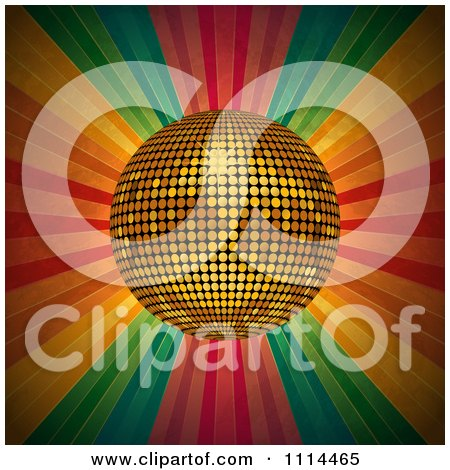 Clipart 3d Golden Disco Ball Over Grungy Colorful Rays - Royalty Free Vector Illustration by elaineitalia