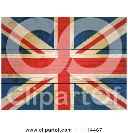 Clipart 3d Distressed Union Jack Flag On Wood Boards - Royalty Free Vector Illustration by elaineitalia