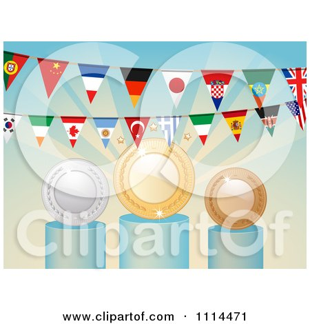 Clipart National Flag Buntings Over Medals - Royalty Free Vector Illustration by elaineitalia