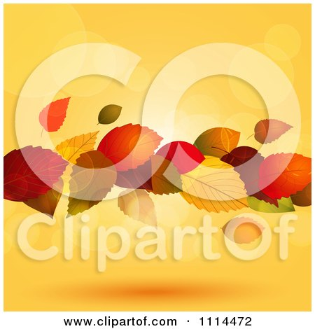 Clipart Floating Autumn Leaves With Flares Of Light Over Orange - Royalty Free Vector Illustration by elaineitalia