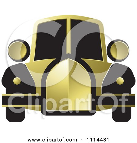 Clipart Vintage Gold And Black Car - Royalty Free Vector Illustration by Lal Perera