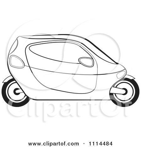 Clipart Black And White Mobike Car 1 - Royalty Free Vector Illustration by Lal Perera