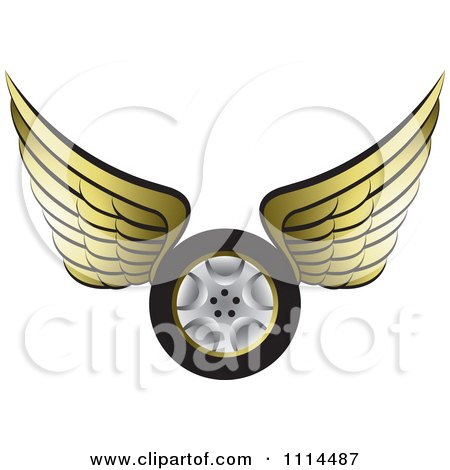 Clipart Gold Winged Tire 1 - Royalty Free Vector Illustration by Lal Perera