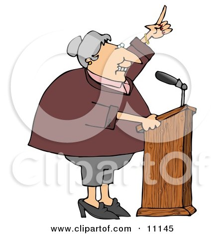 Proud Female Politician Gesturing With Her Hand While Giving a Public Speech Clipart Picture by djart