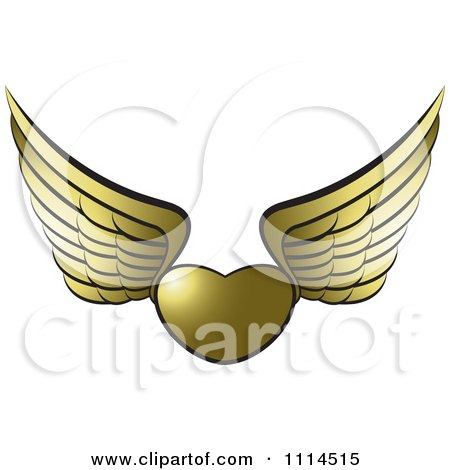 Clipart Golden Winged Heart - Royalty Free Vector Illustration by Lal Perera