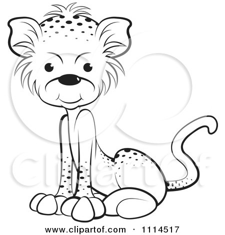 Clipart Black And White Sitting Leopard Cub