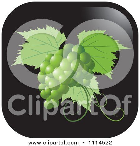 Clipart Green Grapes And Leaves Icon Button - Royalty Free Vector Illustration by Lal Perera