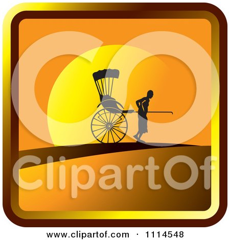 Clipart Silhouetted Man Pulling A Human Rickshaw At Sunset Icon - Royalty Free Vector Illustration by Lal Perera