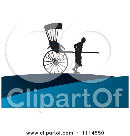 Clipart Silhouetted Man Pulling A Human Rickshaw - Royalty Free Vector Illustration by Lal Perera