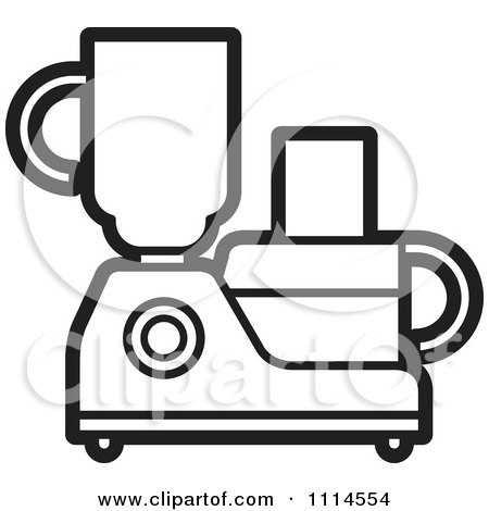 Clipart Black And White Kitchen Food Processor Or Blender - Royalty Free Vector Illustration by Lal Perera