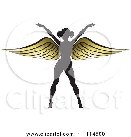 Clipart Silhouetted Woman With Golden Wings 3 Royalty Free Vector Illustration