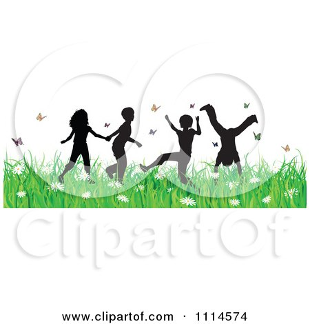 Carefree Silhouetted Children Playing In Grass And Butterflies Posters, Art Prints