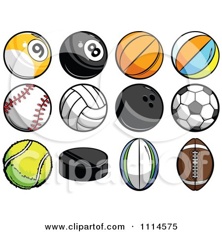 Clipart Athletic Sports Balls - Royalty Free Vector Illustration by Chromaco