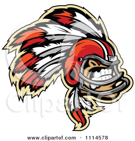 Clipart Chief Football Player Mascot - Royalty Free Vector Illustration by Chromaco