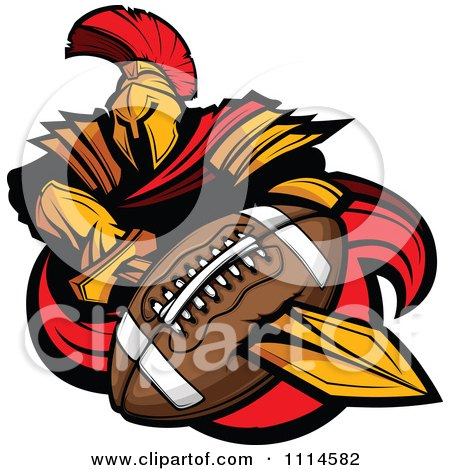Clipart Spartan Warrior Mascot Stabbing A Football With His Golden Sword - Royalty Free Vector Illustration by Chromaco