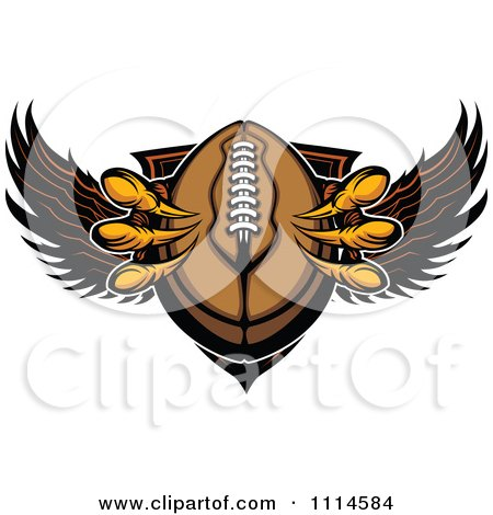Clipart Eagle Talons Grabbing A Football And A Winged Shield - Royalty Free Vector Illustration by Chromaco
