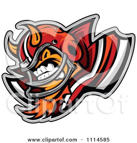 Clipart Aggressive Devil Football Player Mascot Royalty Free Vector Illustration