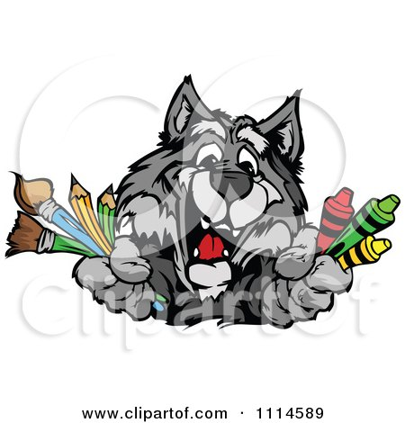 Happy Gray Wolf Mascot Holding Art Supplies Posters, Art Prints
