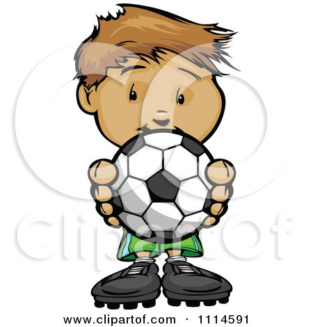 Clipart Cute Boy Holding A Soccer Ball - Royalty Free Vector Illustration by Chromaco