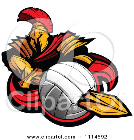 Clipart Spartan Warrior Mascot Stabbing A Volleyball With His Golden Sword - Royalty Free Vector Illustration by Chromaco