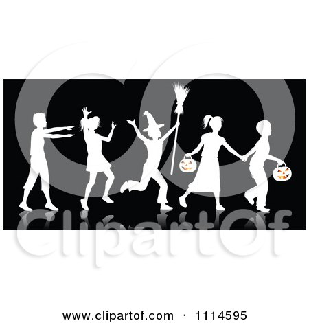 Clipart White Silhouetted Halloween Children Trick Or Treating With A Reflection On Black - Royalty Free Vector Illustration by KJ Pargeter
