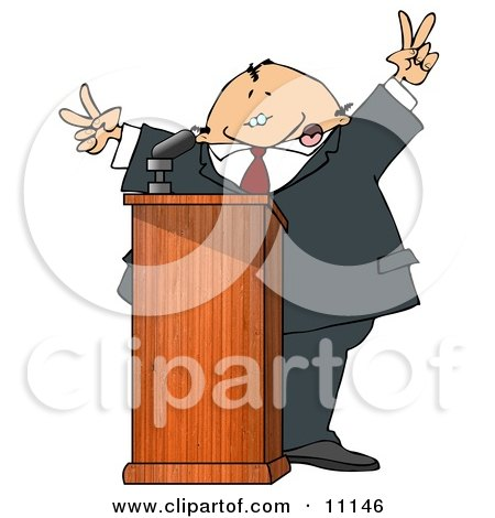 Silly Man at a Podium Giving a Passionate Public Speech and Gesturing Peace Symbols Clipart Picture by djart