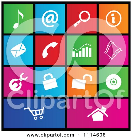 Clipart Set Of Colorful Square Web Site Metro Style Icons - Royalty Free Vector Illustration by cidepix