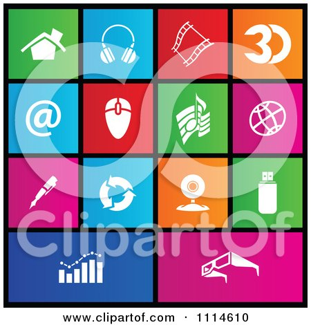 Clipart Set Of Colorful Square Web Browser Metro Style Icons - Royalty Free Vector Illustration by cidepix