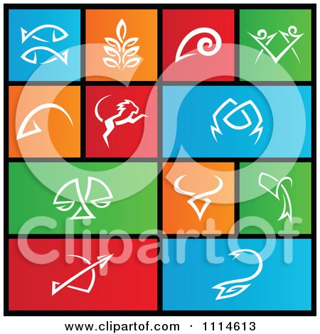 Clipart Set Of Colorful Square Zodiac Metro Style Icons - Royalty Free Vector Illustration by cidepix