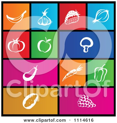 Clipart Set Of Colorful Square Food Metro Style Icons - Royalty Free Vector Illustration by cidepix