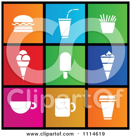 Clipart Set Of Colorful Square Food Ice Cream And Coffee Metro Style Icons - Royalty Free Vector Illustration by cidepix