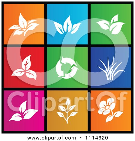 Clipart Set Of Colorful Square Leaf And Flower Metro Style Icons - Royalty Free Vector Illustration by cidepix