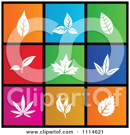 Clipart Set Of Colorful Square Leaf Metro Style Icons - Royalty Free Vector Illustration by cidepix